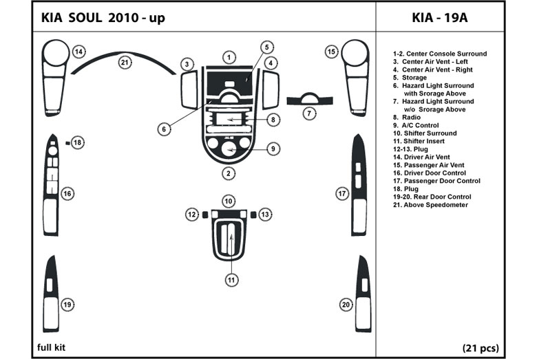 2010 Kia Soul DL Auto Dash Kit Diagram