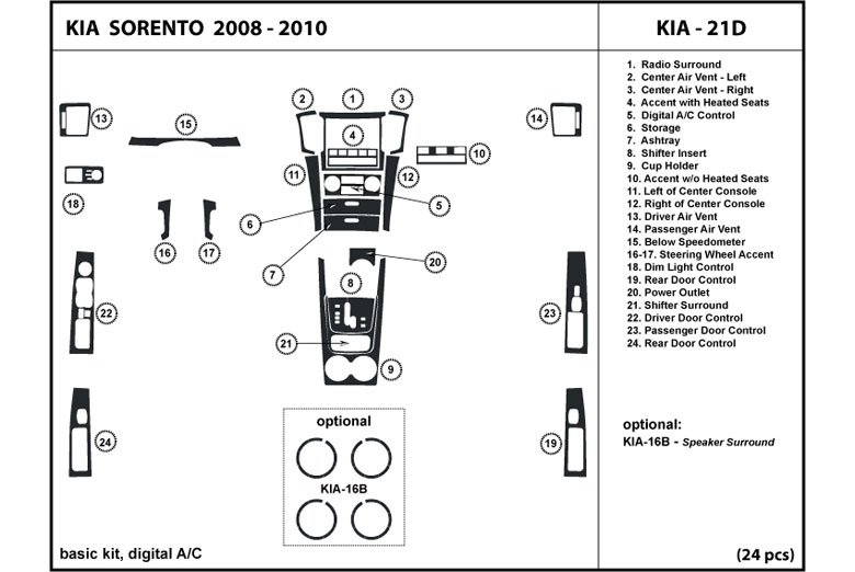 2009 Kia Sorento DL Auto Dash Kit Diagram