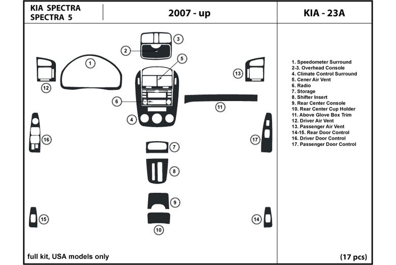 2008 Kia Spectra DL Auto Dash Kit Diagram
