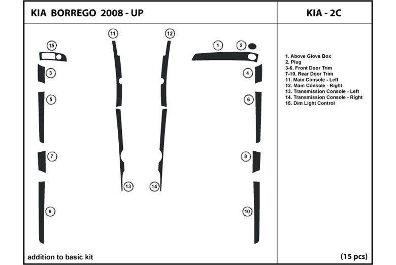 2009 Kia Borrego DL Auto Dash Kit Diagram