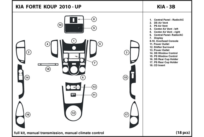 2012 Kia Forte DL Auto Dash Kit Diagram