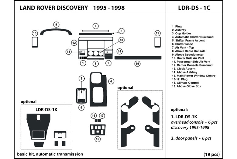 1995 Land Rover Discovery DL Auto Dash Kit Diagram