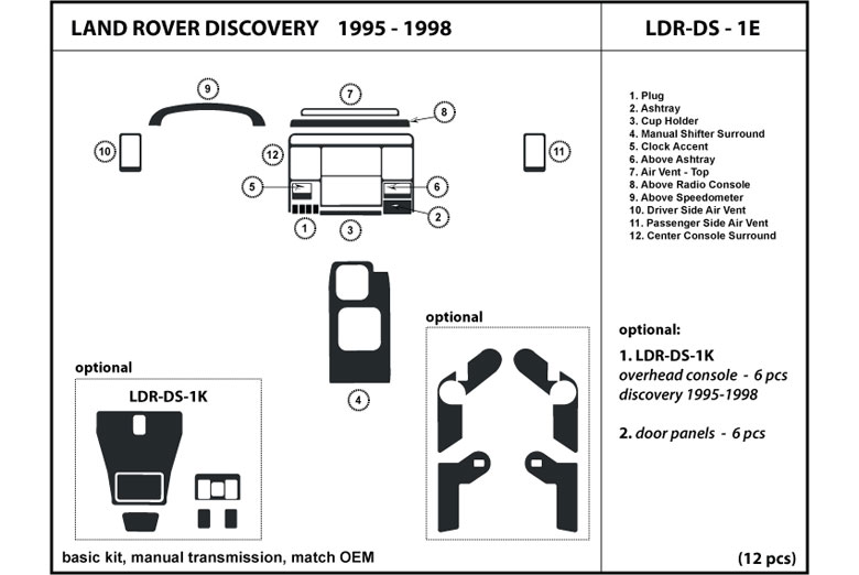 1996 Land Rover Discovery DL Auto Dash Kit Diagram
