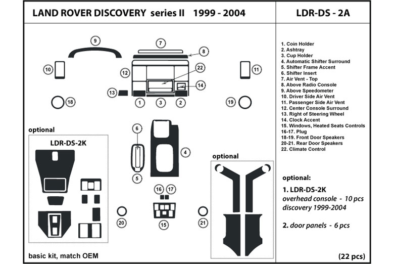 2002 Land Rover Discovery DL Auto Dash Kit Diagram