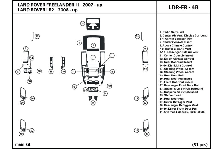 dl auto land rover lr2 2008 2015 dash kits rh rvinyl com 2011 Land Rover LR2 2009 Land Rover Freelander