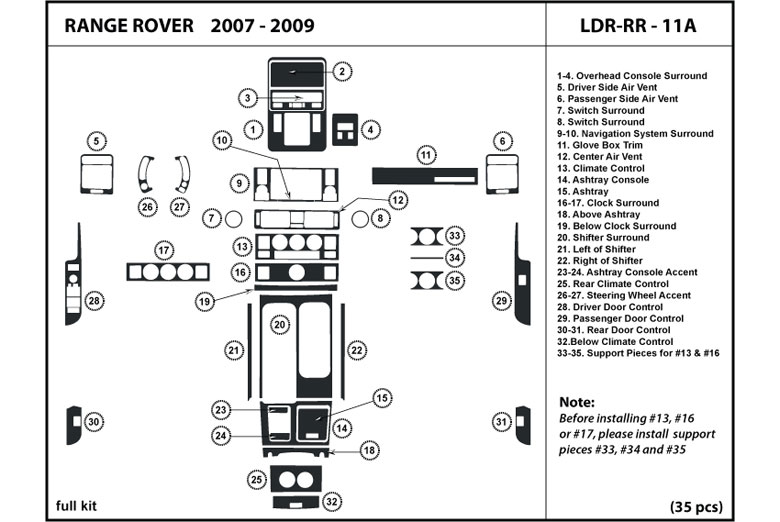 2008 Land Rover Range Rover DL Auto Dash Kit Diagram