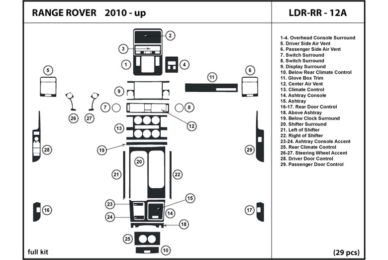 2012 Land Rover Range Rover DL Auto Dash Kit Diagram