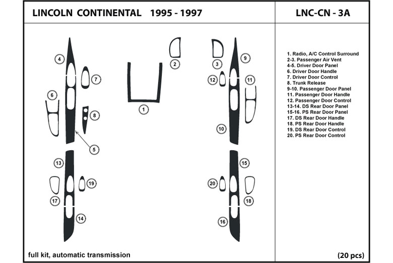 1995 Lincoln Continental DL Auto Dash Kit Diagram