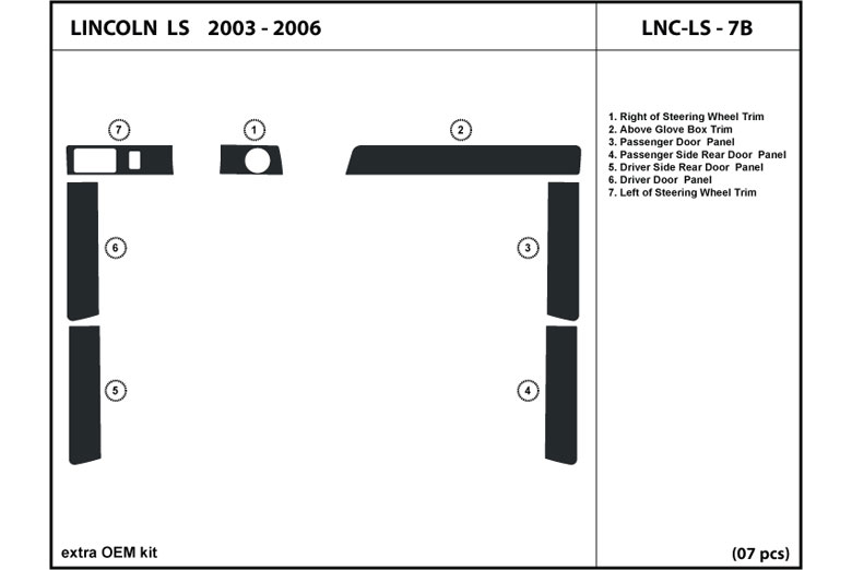 2003 Lincoln LS DL Auto Dash Kit Diagram