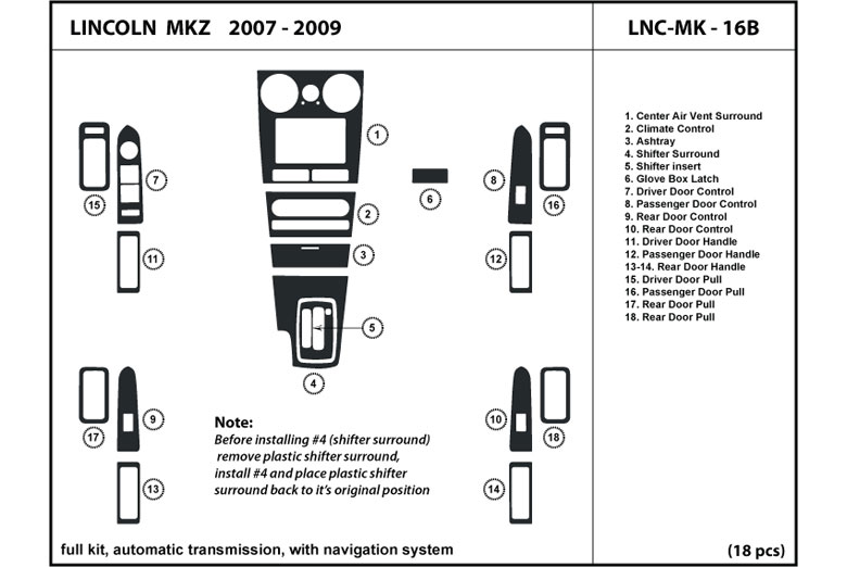 2008 lincoln mkz dl auto dash kit diagram