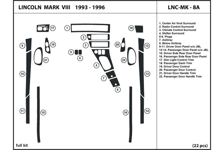 1993 Lincoln Mark VIII DL Auto Dash Kit Diagram