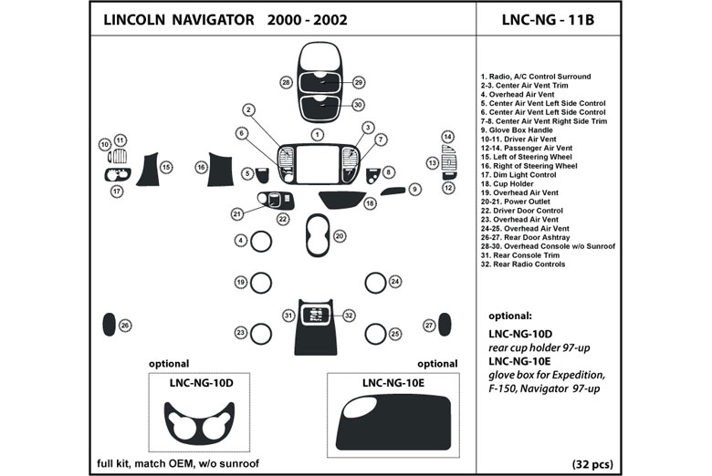2000 Lincoln Navigator DL Auto Dash Kit Diagram