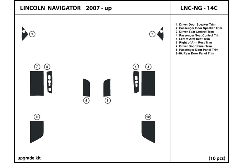 2010 Lincoln Navigator DL Auto Dash Kit Diagram