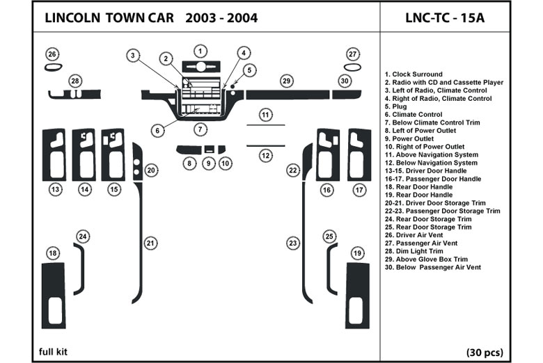2004 Lincoln Town Car DL Auto Dash Kit Diagram