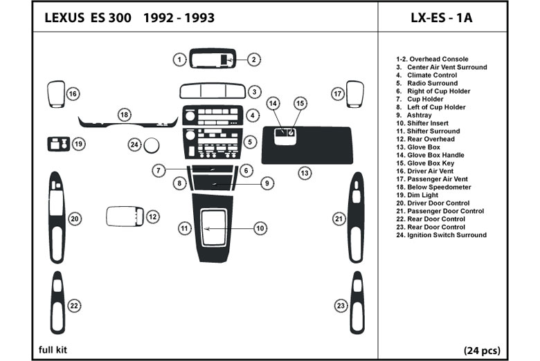 1993 Lexus ES DL Auto Dash Kit Diagram