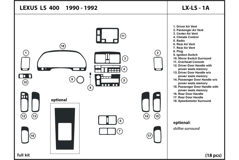 1990 Lexus LS DL Auto Dash Kit Diagram