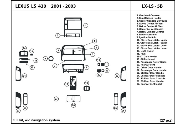 2003 Lexus LS DL Auto Dash Kit Diagram