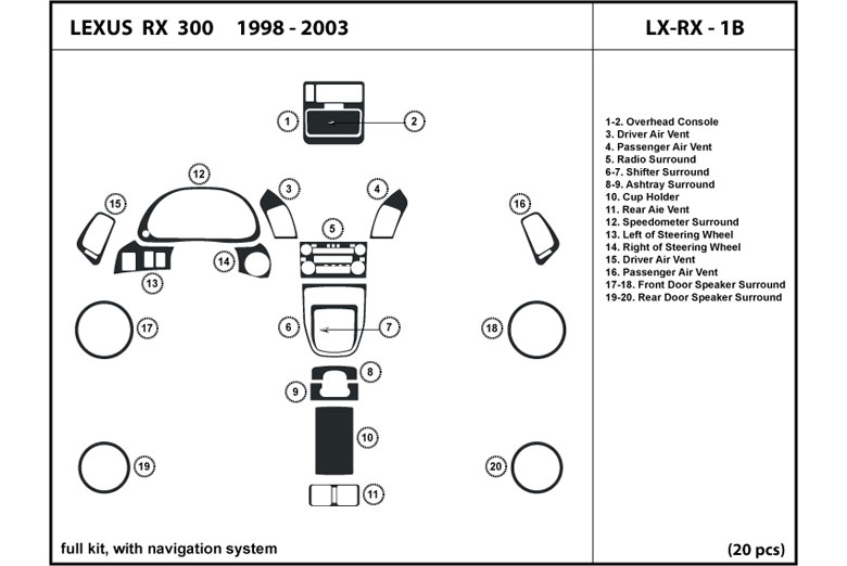 1999 Lexus RX DL Auto Dash Kit Diagram
