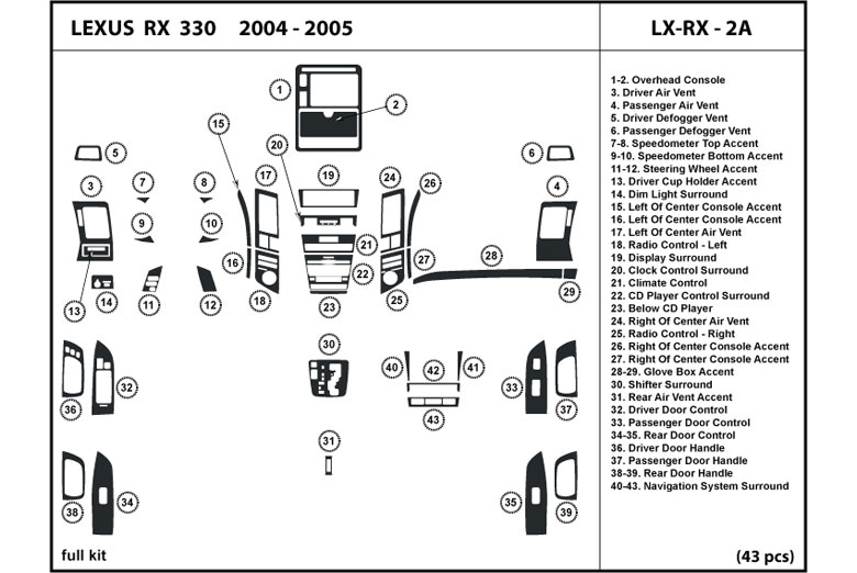 2004 Lexus RX DL Auto Dash Kit Diagram