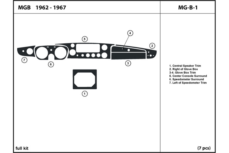 1962 MG MGB DL Auto Dash Kit Diagram