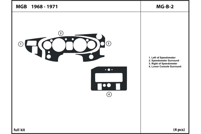 1970 MG MGB DL Auto Dash Kit Diagram