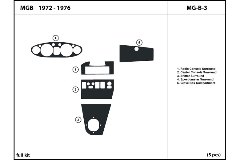 1974 MG MGB DL Auto Dash Kit Diagram