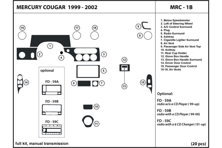 1999 Mercury Cougar DL Auto Dash Kit Diagram