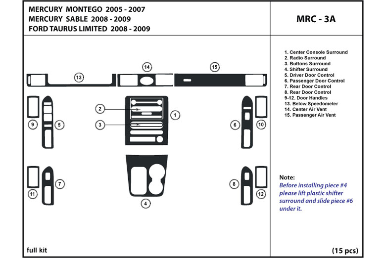2006 Mercury Montego DL Auto Dash Kit Diagram