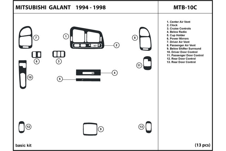 1997 Mitsubishi Galant DL Auto Dash Kit Diagram