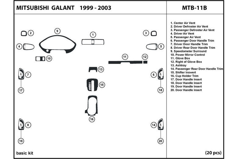 2003 Mitsubishi Galant DL Auto Dash Kit Diagram