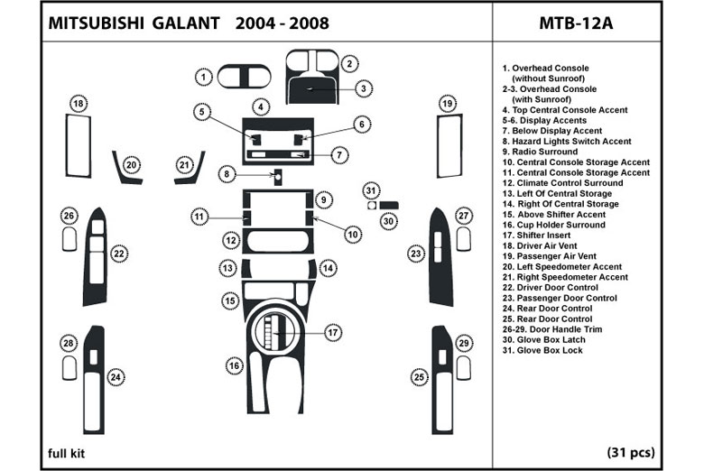 2008 Mitsubishi Galant DL Auto Dash Kit Diagram