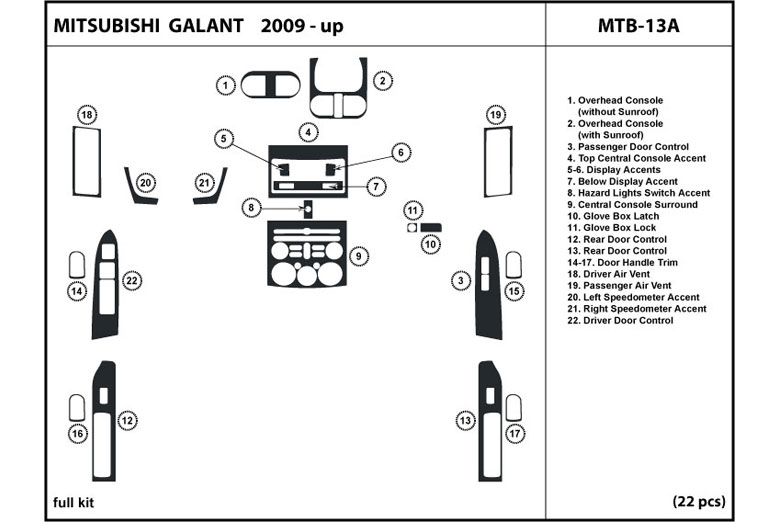 2011 Mitsubishi Galant DL Auto Dash Kit Diagram
