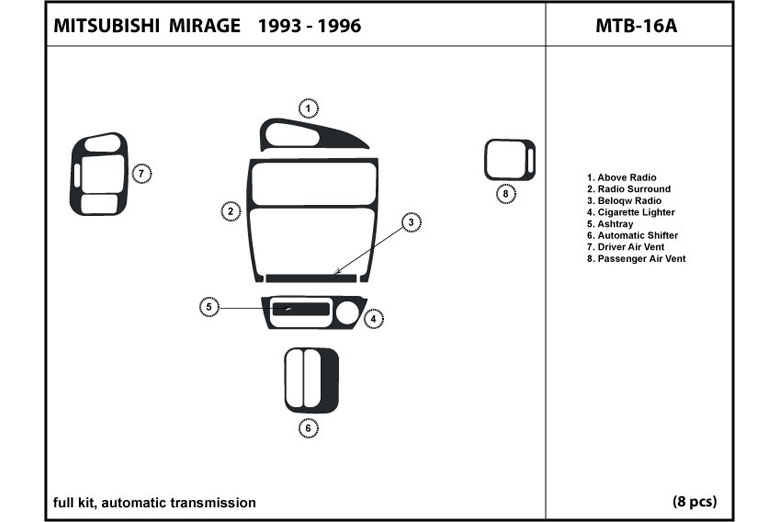 1995 Mitsubishi Mirage DL Auto Dash Kit Diagram