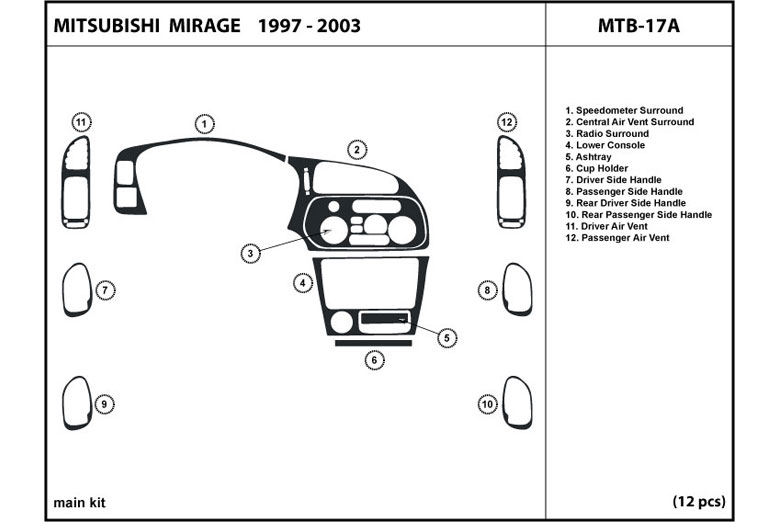 1997 Mitsubishi Mirage DL Auto Dash Kit Diagram