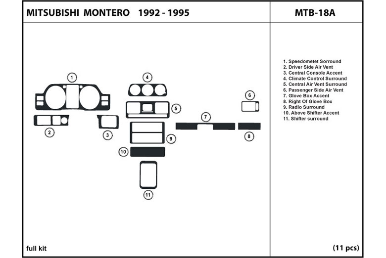 1998 Mitsubishi Montero DL Auto Dash Kit Diagram