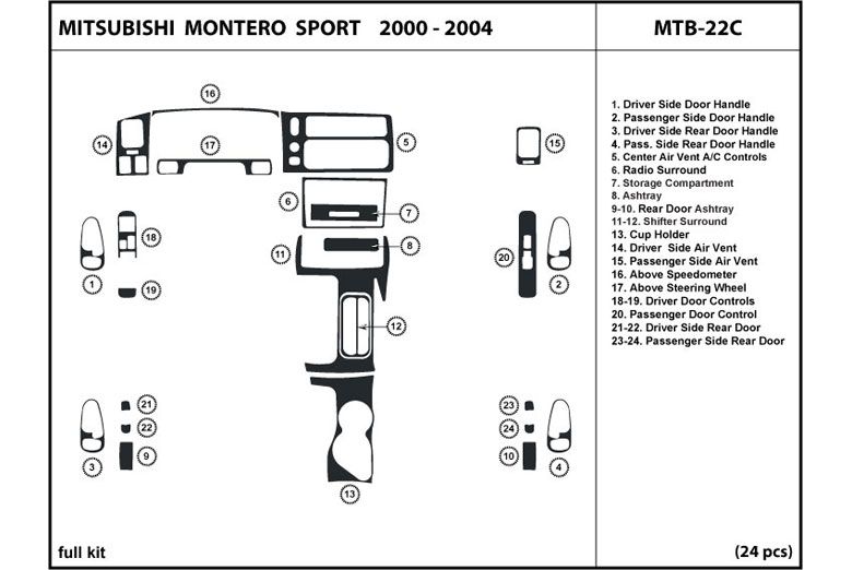 2001 Mitsubishi Montero Sport DL Auto Dash Kit Diagram