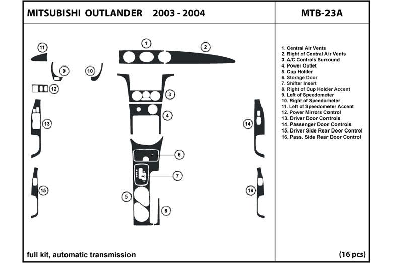 dl auto mitsubishi outlander 2003 2004 dash kits. Black Bedroom Furniture Sets. Home Design Ideas