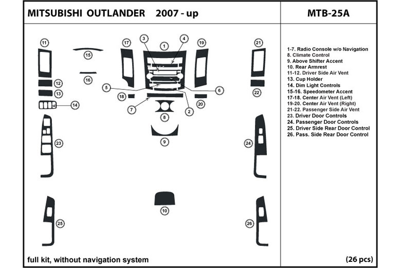 2012 Mitsubishi Outlander DL Auto Dash Kit Diagram