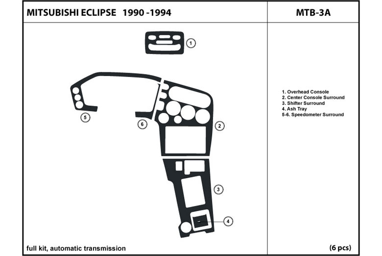 1990 Mitsubishi Eclipse DL Auto Dash Kit Diagram