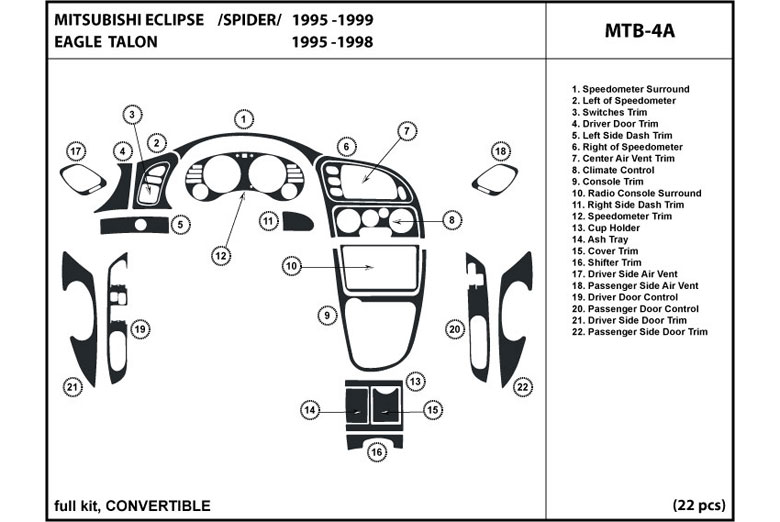 1998 Mitsubishi Eclipse DL Auto Dash Kit Diagram