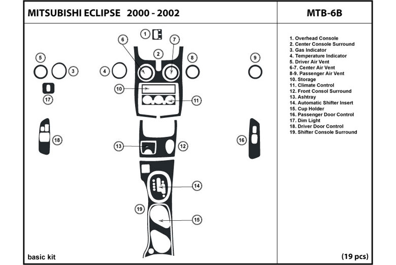 2004 Mitsubishi Eclipse DL Auto Dash Kit Diagram