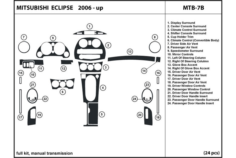 2006 Mitsubishi Eclipse DL Auto Dash Kit Diagram