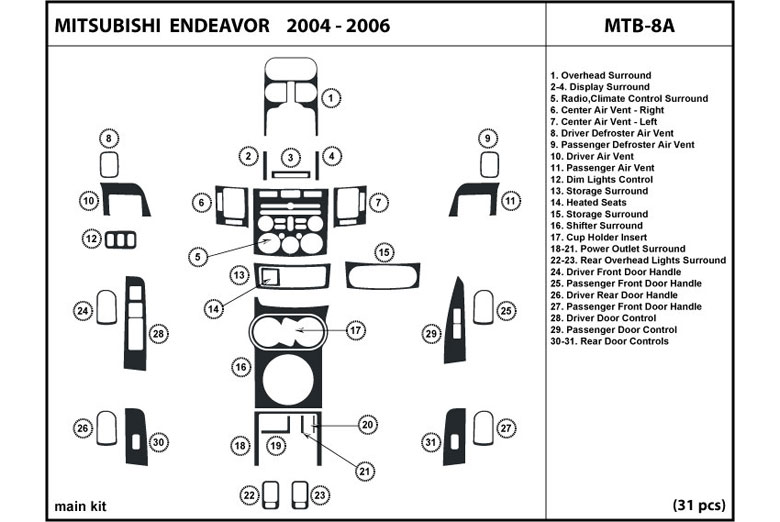 2006 Mitsubishi Endeavor DL Auto Dash Kit Diagram
