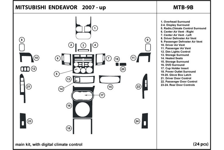 2007 Mitsubishi Endeavor DL Auto Dash Kit Diagram