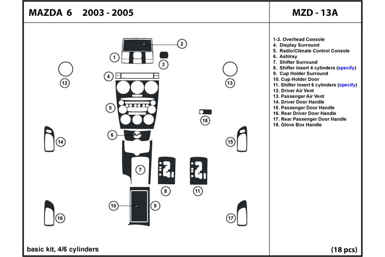 2003 Mazda Mazda6 DL Auto Dash Kit Diagram