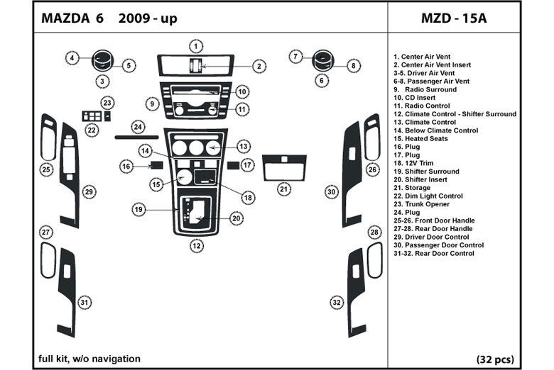 2009 Mazda Mazda6 DL Auto Dash Kit Diagram