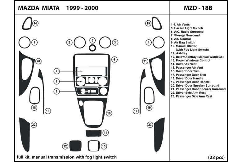 1999 Mazda MX-5 Miata DL Auto Dash Kit Diagram
