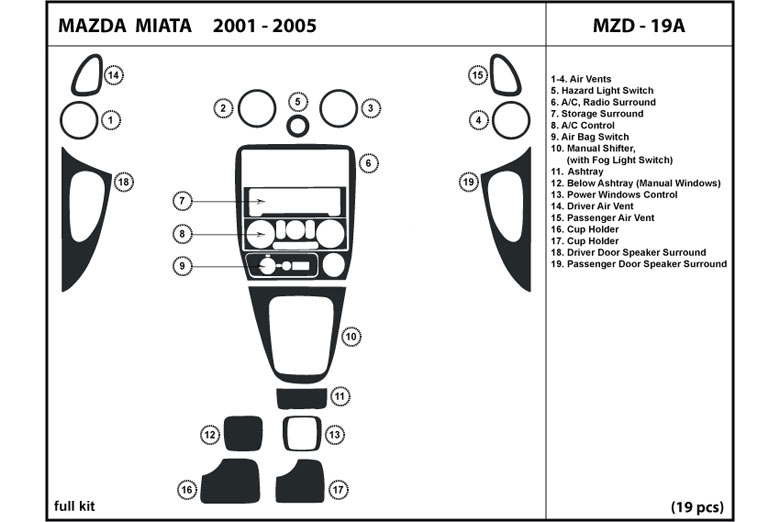 2001 Mazda MX-5 Miata DL Auto Dash Kit Diagram