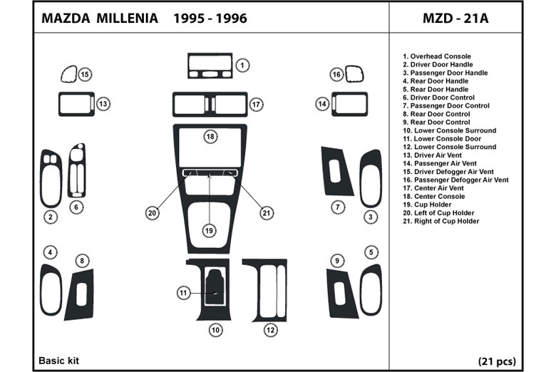 1995 Mazda Millenia DL Auto Dash Kit Diagram