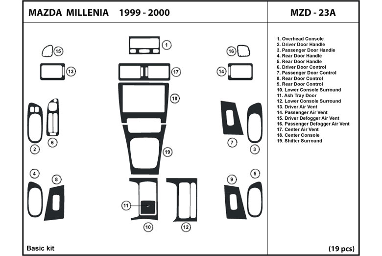 2000 Mazda Millenia DL Auto Dash Kit Diagram